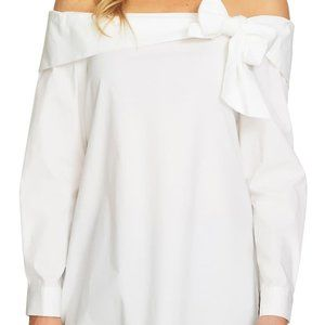 CeCe Long Sleeve Off The Shoulder Bow Front Poplin